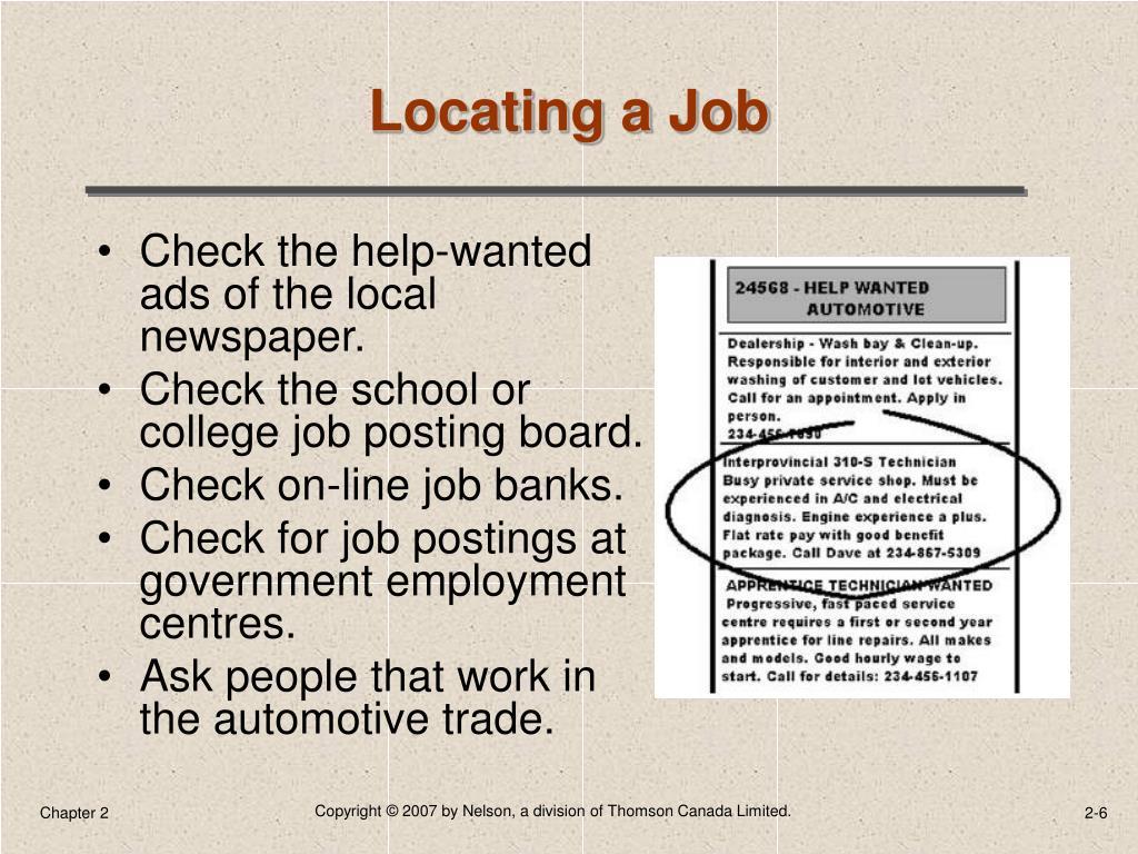 Locating a Job