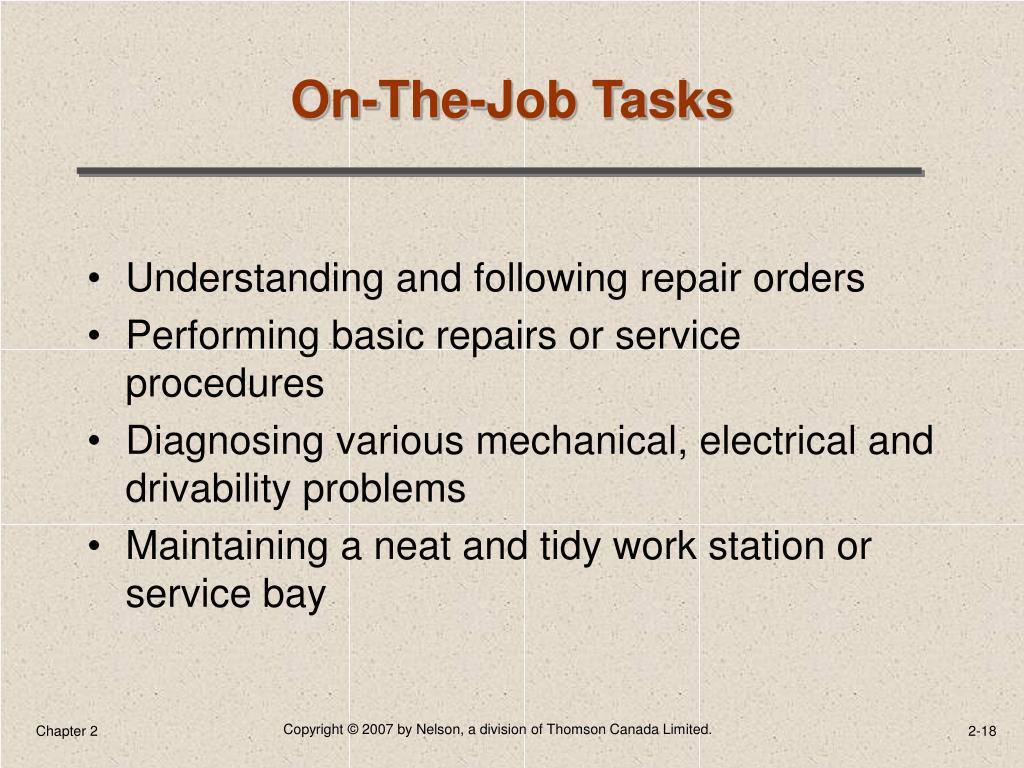 On-The-Job Tasks