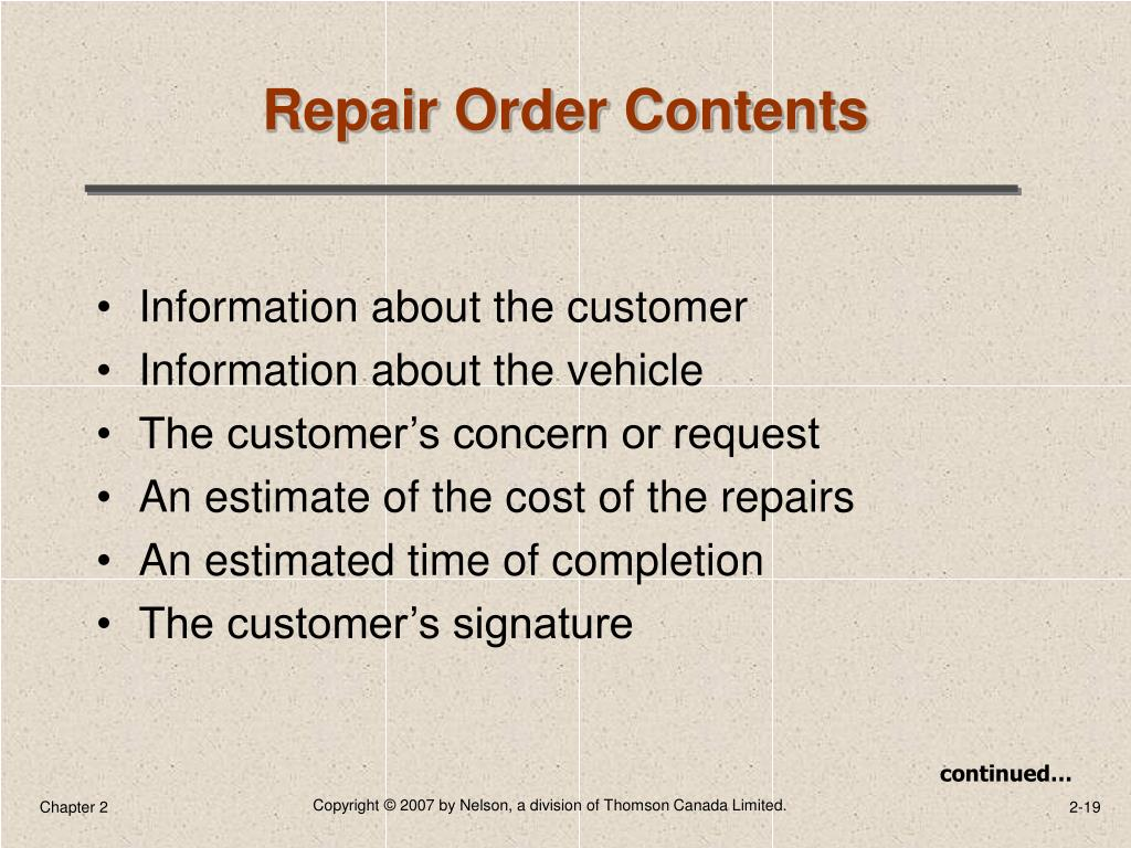 Repair Order Contents