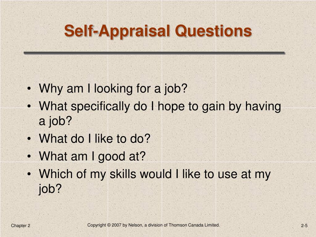 Self-Appraisal Questions