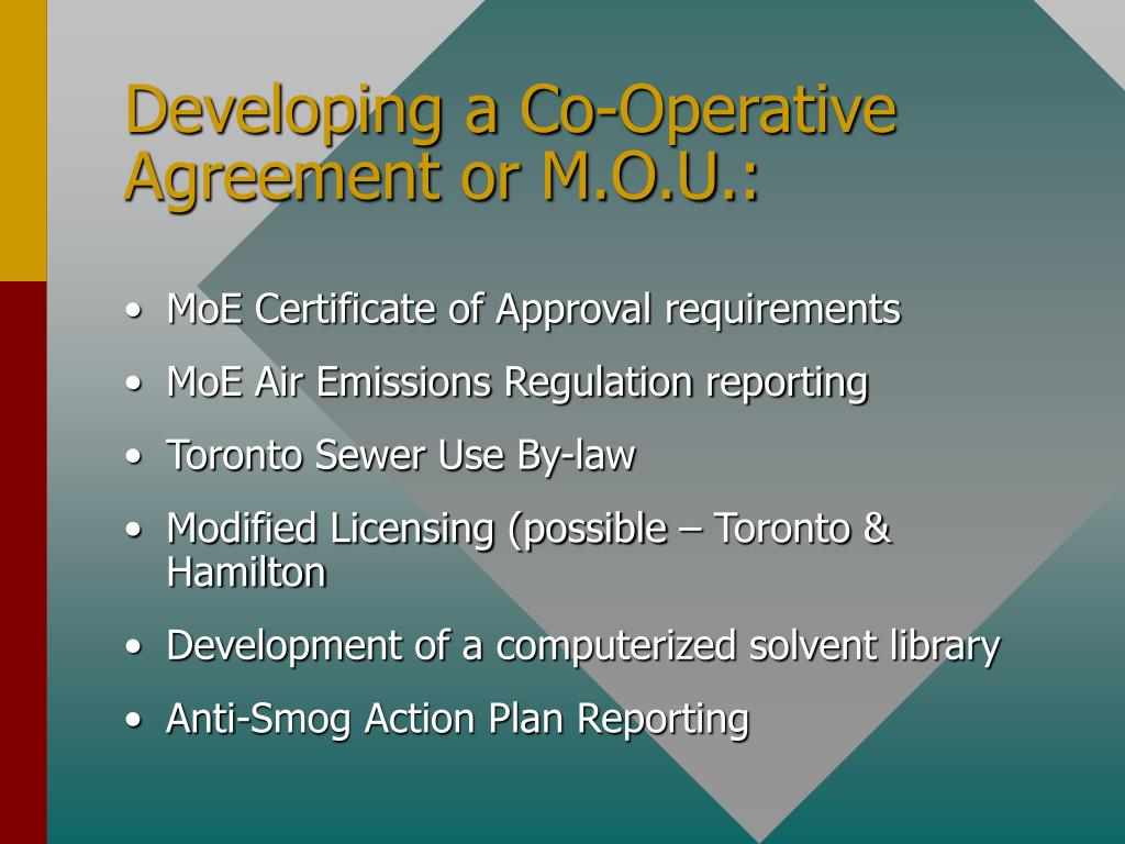 Developing a Co-Operative Agreement or M.O.U.: