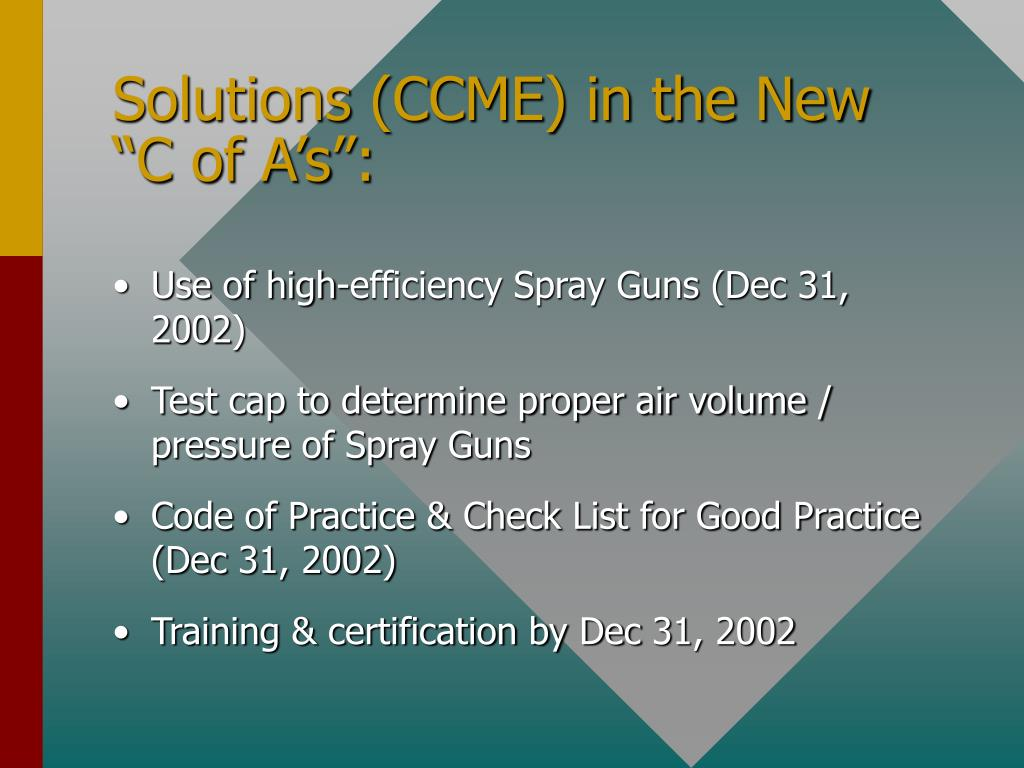 "Solutions (CCME) in the New ""C of A's"":"