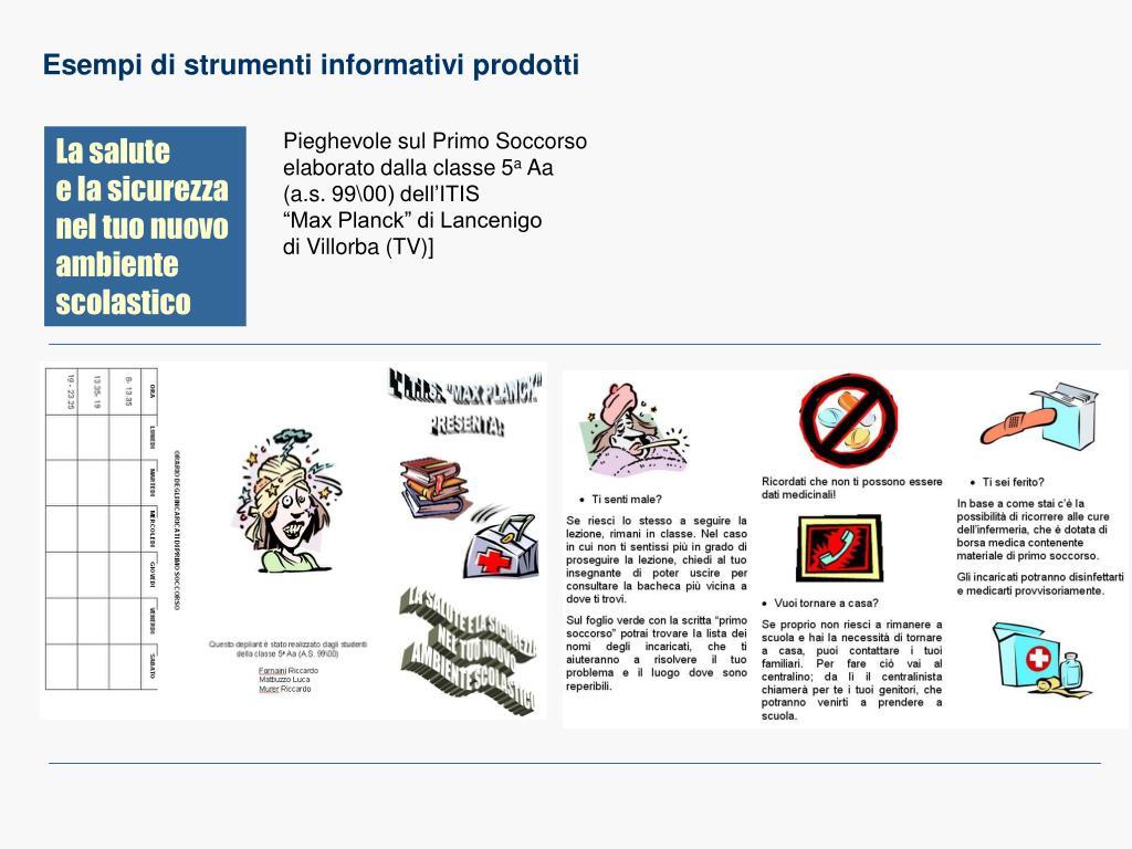 Esempi di strumenti informativi prodotti