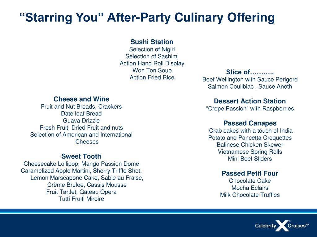 """""""Starring You"""" After-Party Culinary Offering"""