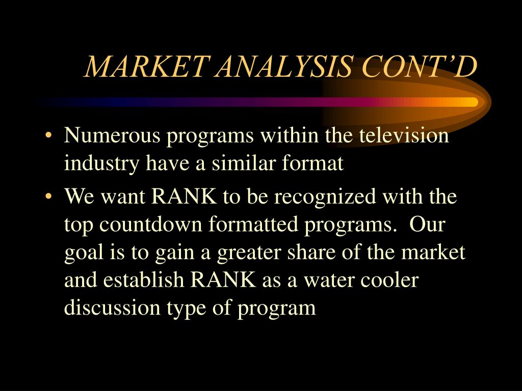 MARKET ANALYSIS CONT'D