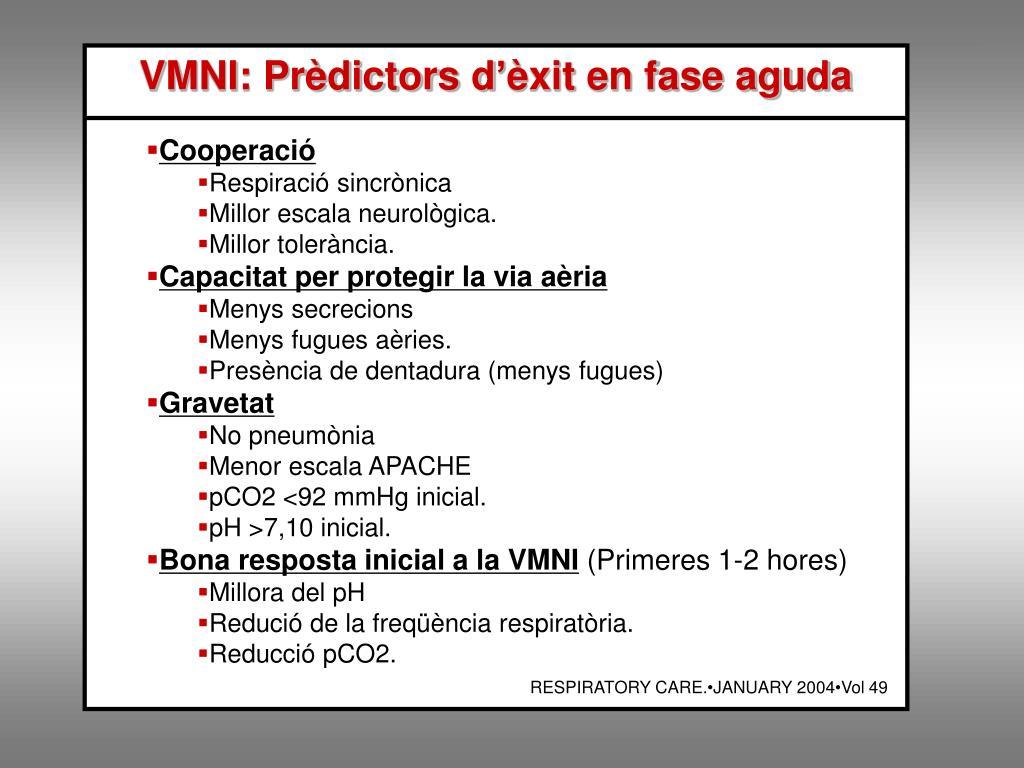 VMNI: Prèdictors d'èxit en fase aguda