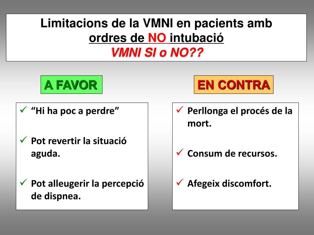 Limitacions de la VMNI en pacients amb