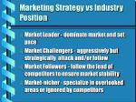 marketing strategy vs industry position