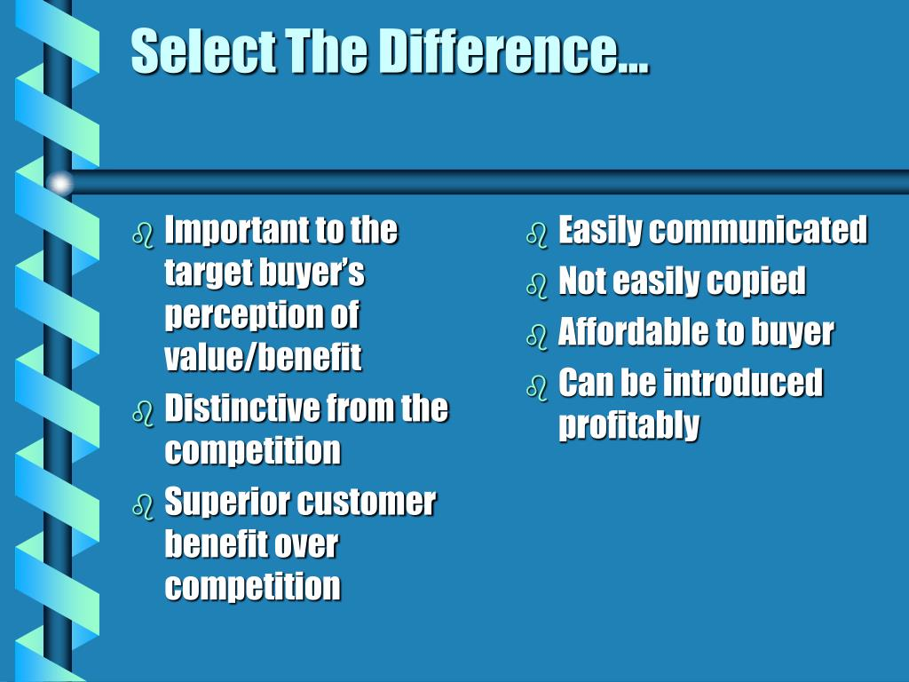 Important to the target buyer's perception of value/benefit
