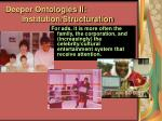 deeper ontologies ii institution structuration80