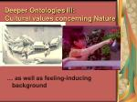 deeper ontologies iii cultural values concerning nature84