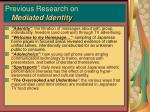 previous research on mediated identity