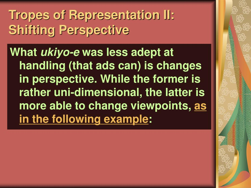 Tropes of Representation II: Shifting Perspective