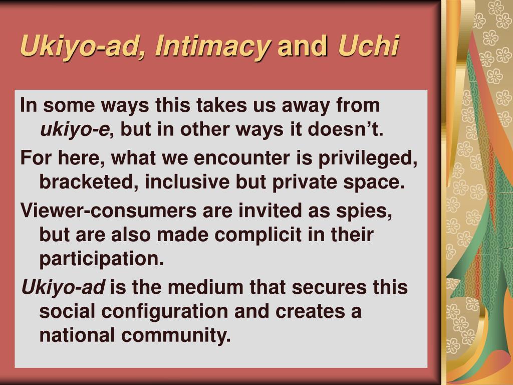 Ukiyo-ad, Intimacy