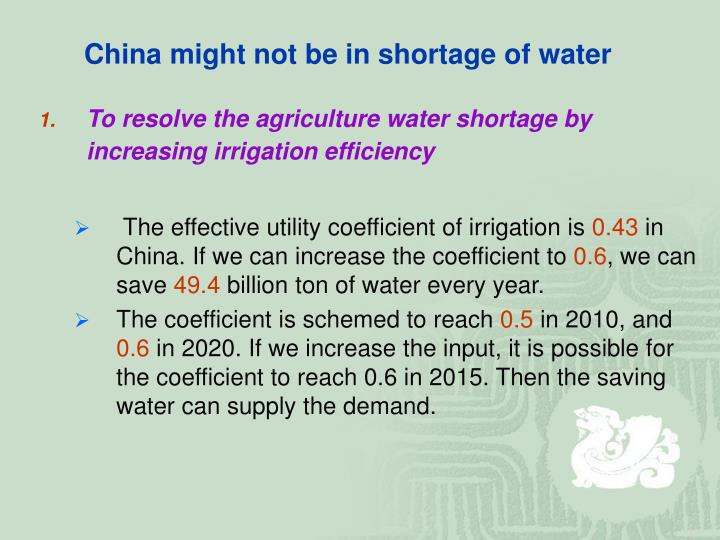 China might not be in shortage of water