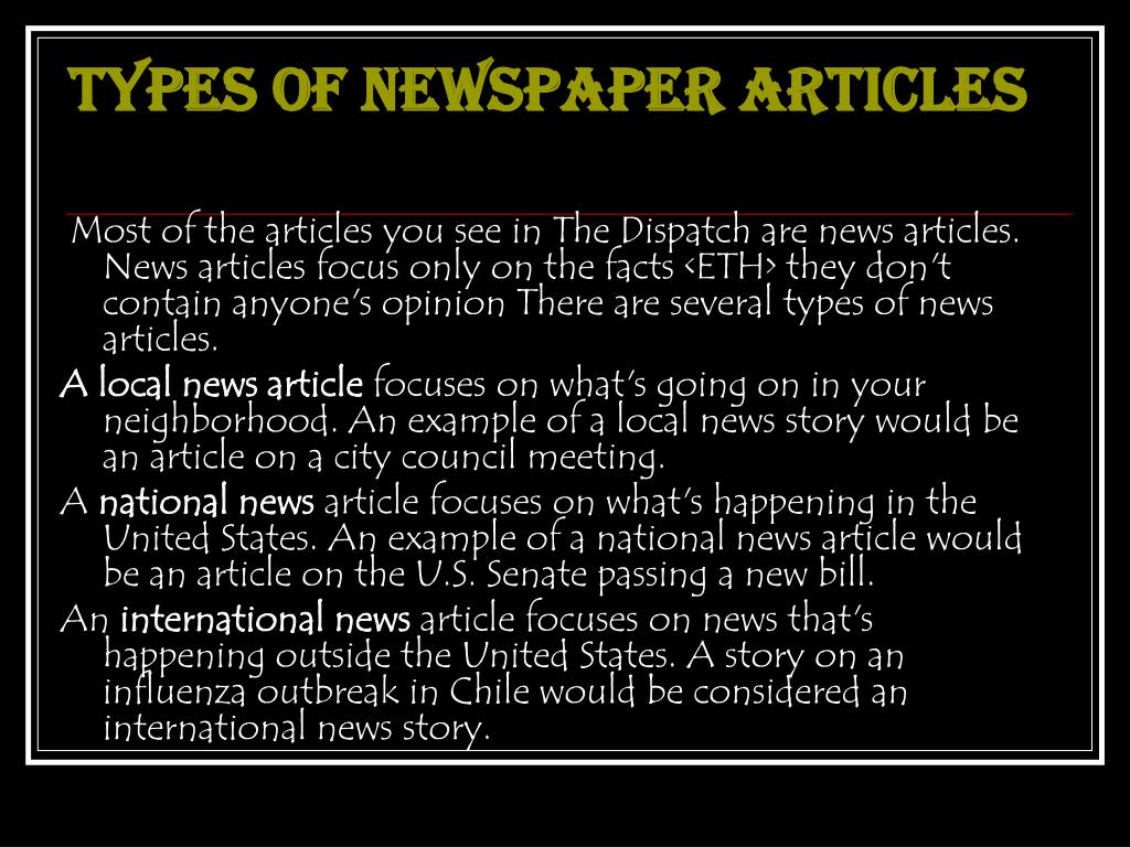 TYPES OF NEWSPAPER ARTICLES