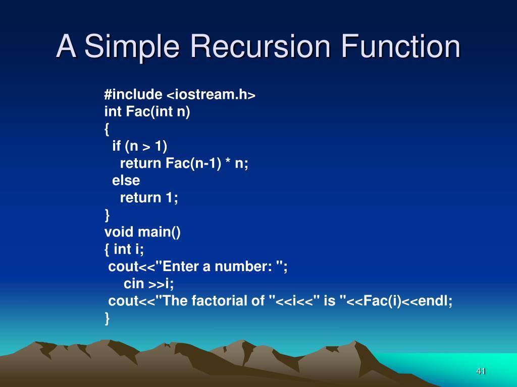 A Simple Recursion Function