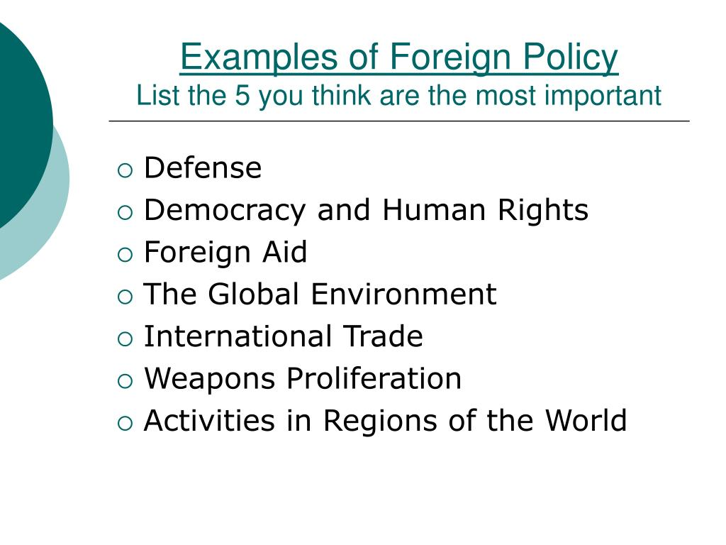 Examples of Foreign Policy
