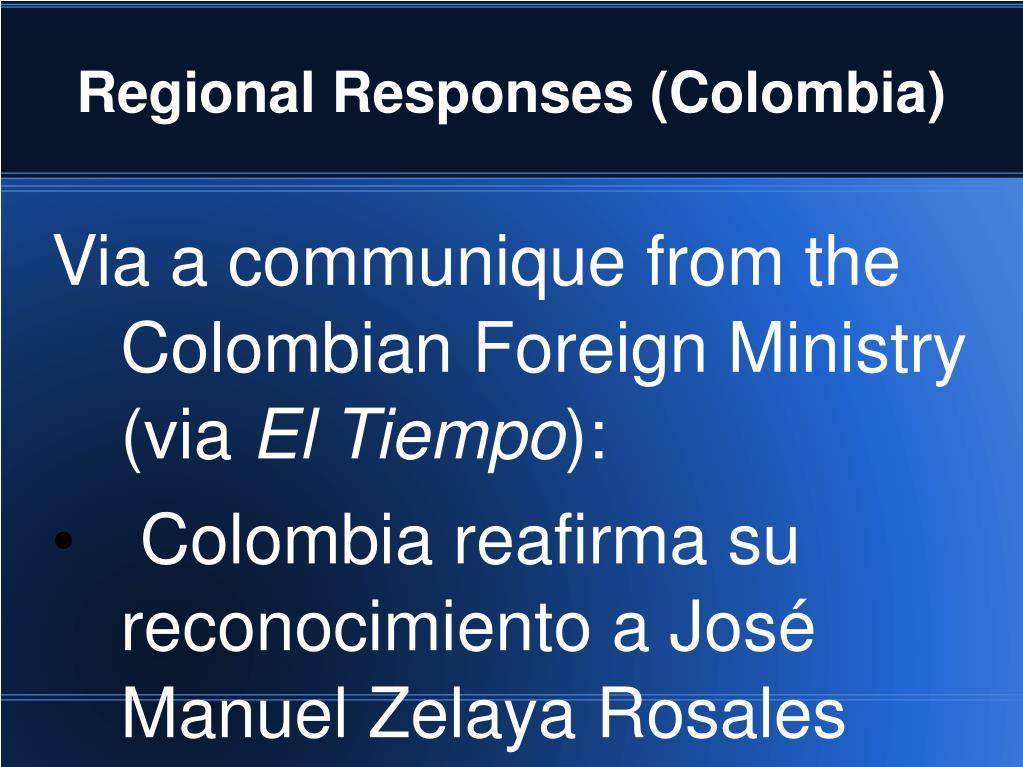 Regional Responses (Colombia)