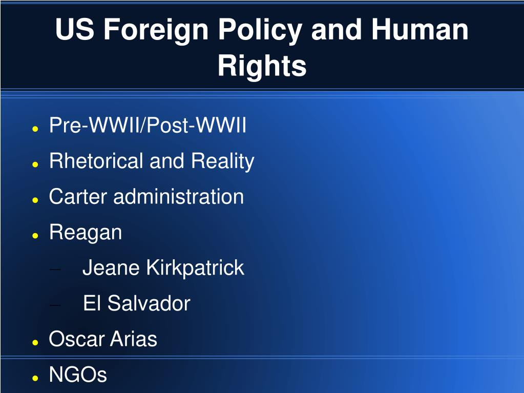 US Foreign Policy and Human Rights