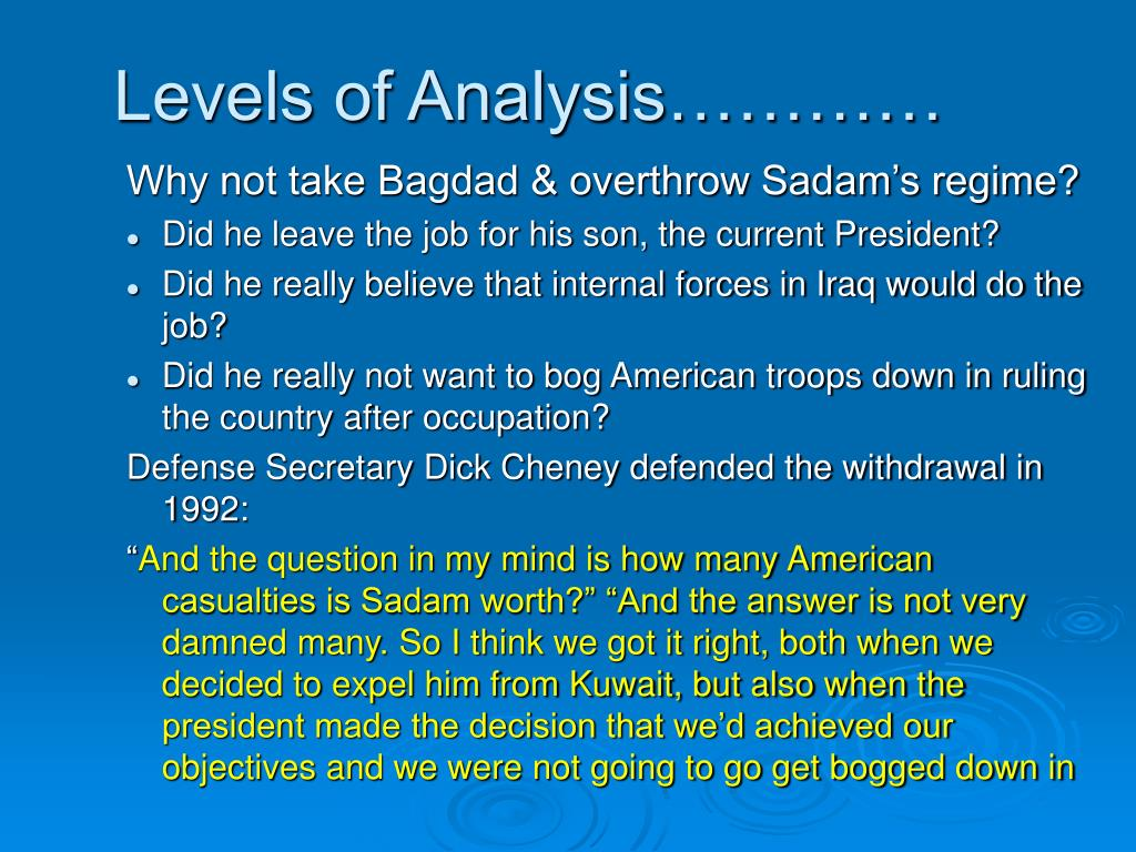 Levels of Analysis…………