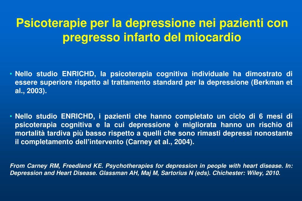 Psicoterapie per la depressione nei pazienti con pregresso infarto del miocardio