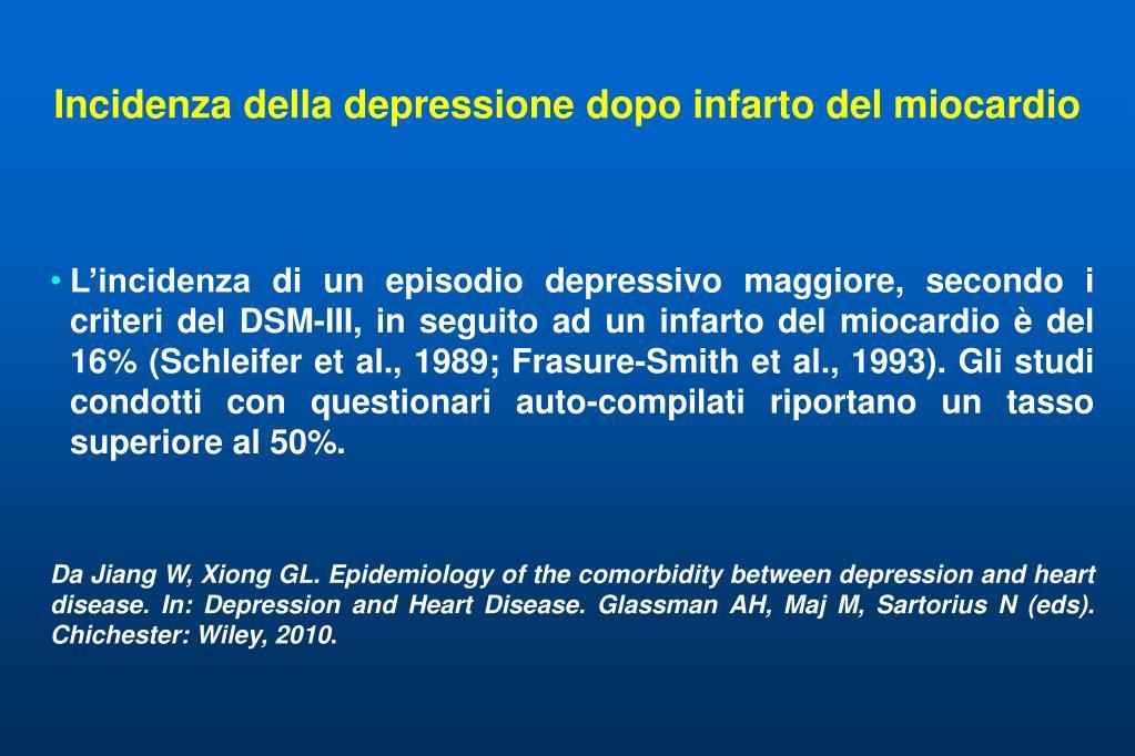 Incidenza della depressione dopo infarto del miocardio