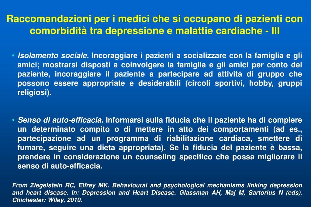 Raccomandazioni per i medici che si occupano di pazienti con comorbidità tra depressione e malattie cardiache