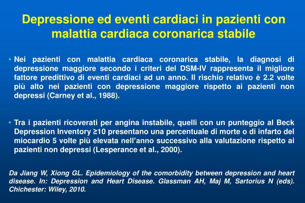 Depressione ed eventi cardiaci in pazienti con malattia cardiaca coronarica stabile