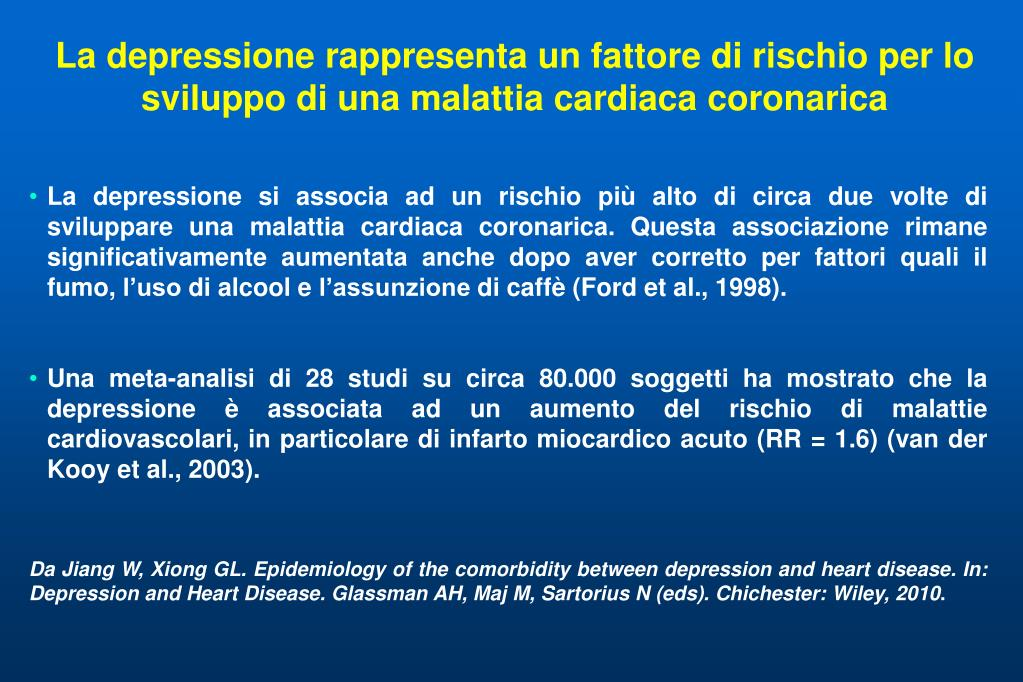 La depressione rappresenta un fattore di rischio per lo sviluppo di una malattia cardiaca coronarica