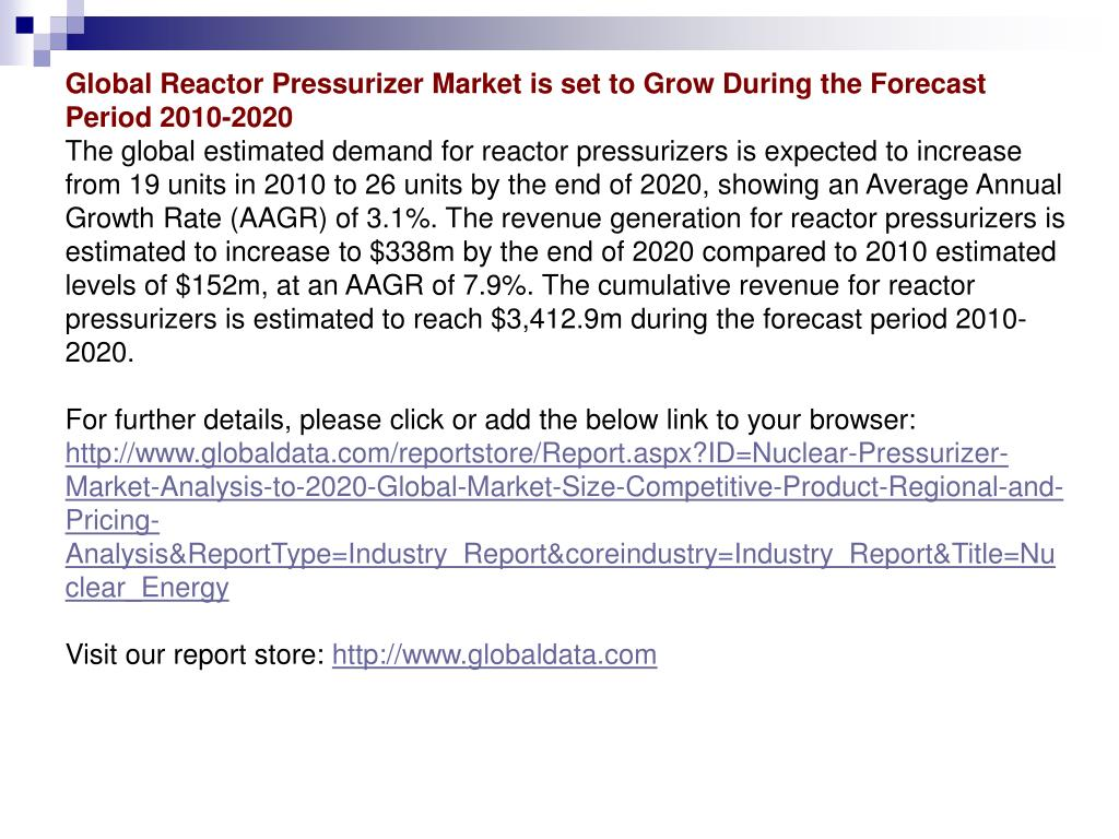 Global Reactor Pressurizer Market is set to Grow During the Forecast Period 2010-2020
