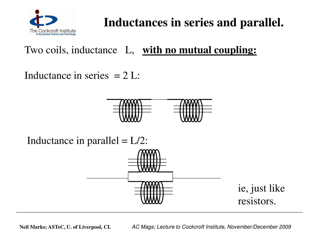 Inductances in series and parallel.