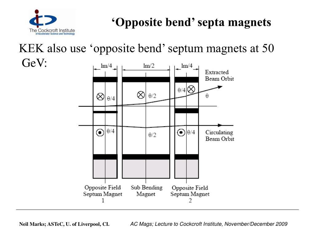 'Opposite bend' septa magnets