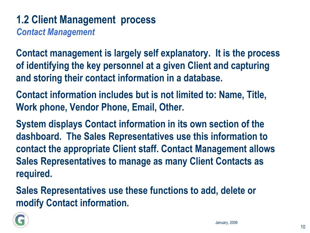1.2 Client Management  process