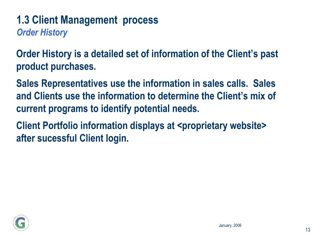1.3 Client Management  process