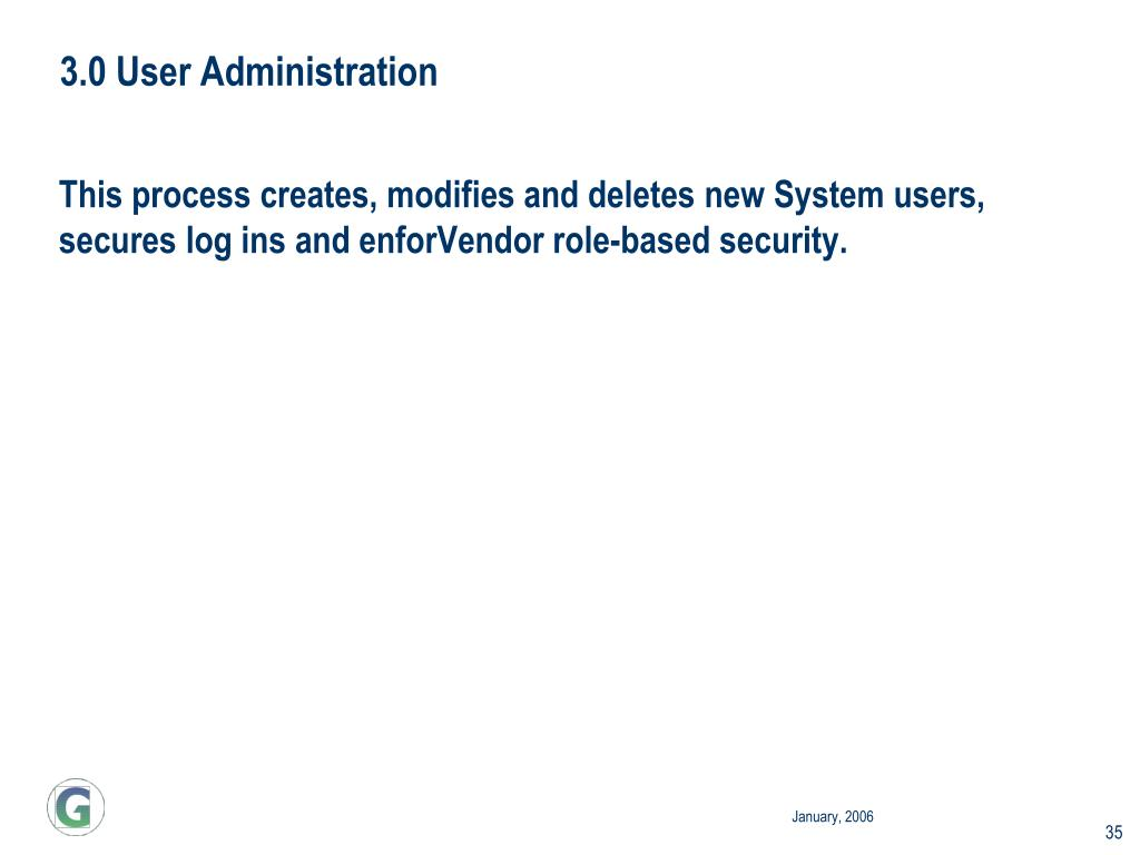 3.0 User Administration