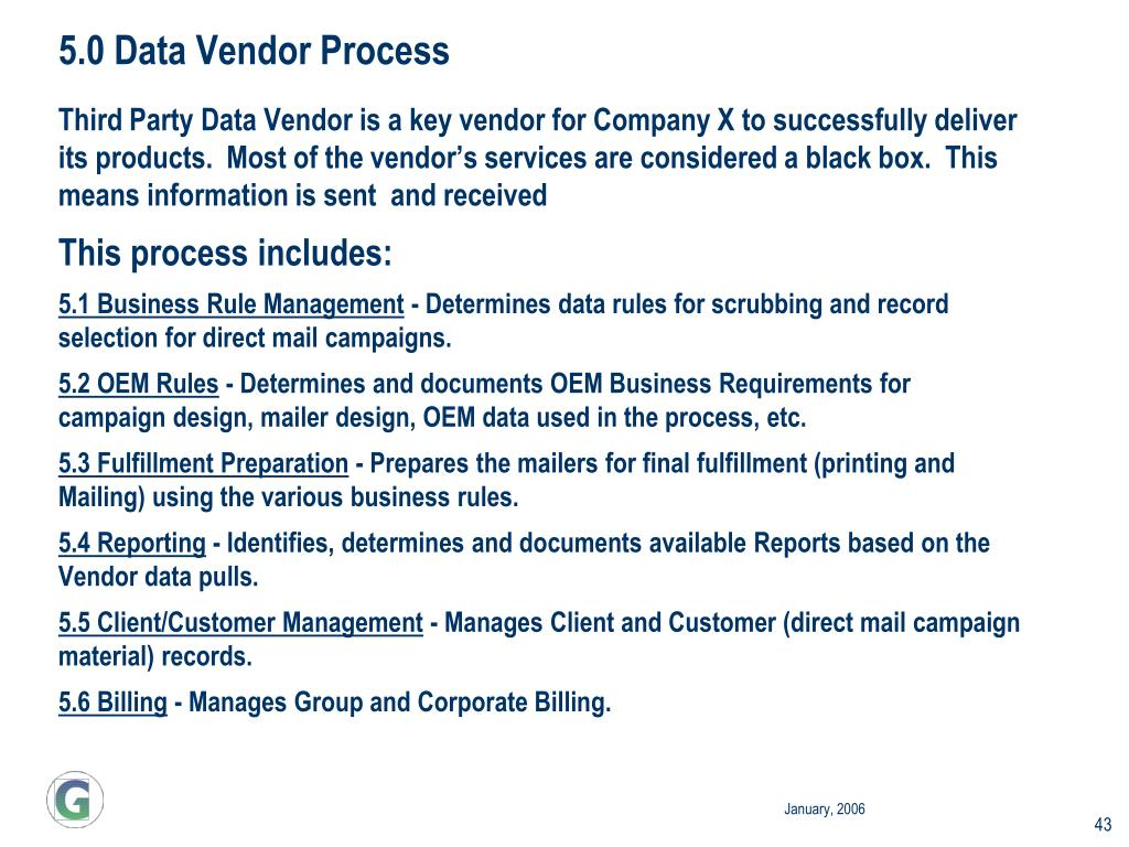 5.0 Data Vendor Process