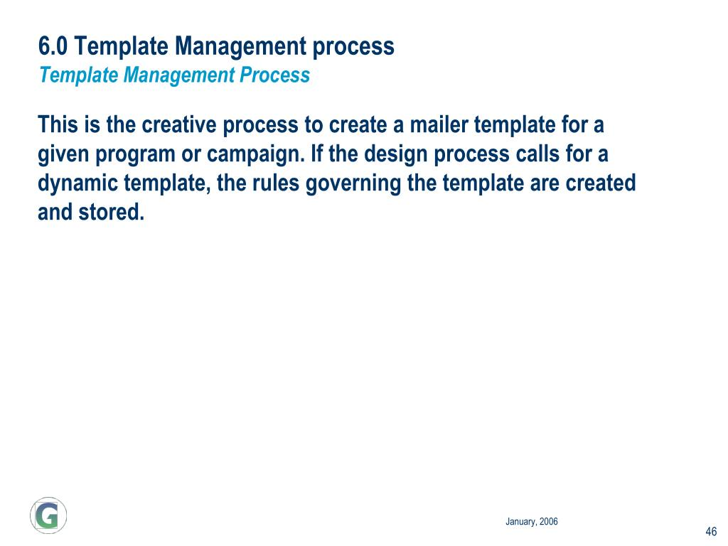 6.0 Template Management process