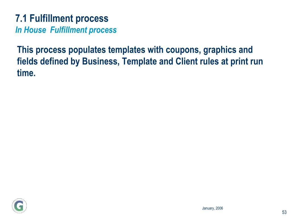 7.1 Fulfillment process