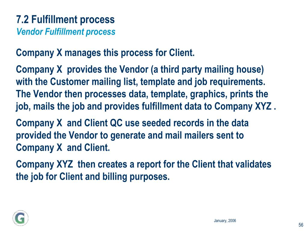 7.2 Fulfillment process