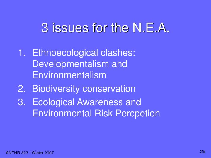 3 issues for the N.E.A.