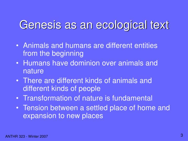 Genesis as an ecological text