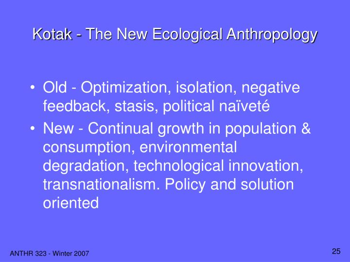 Kotak - The New Ecological Anthropology