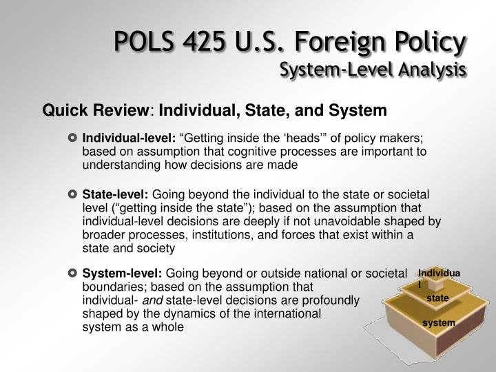 Pols 425 u s foreign policy system level analysis