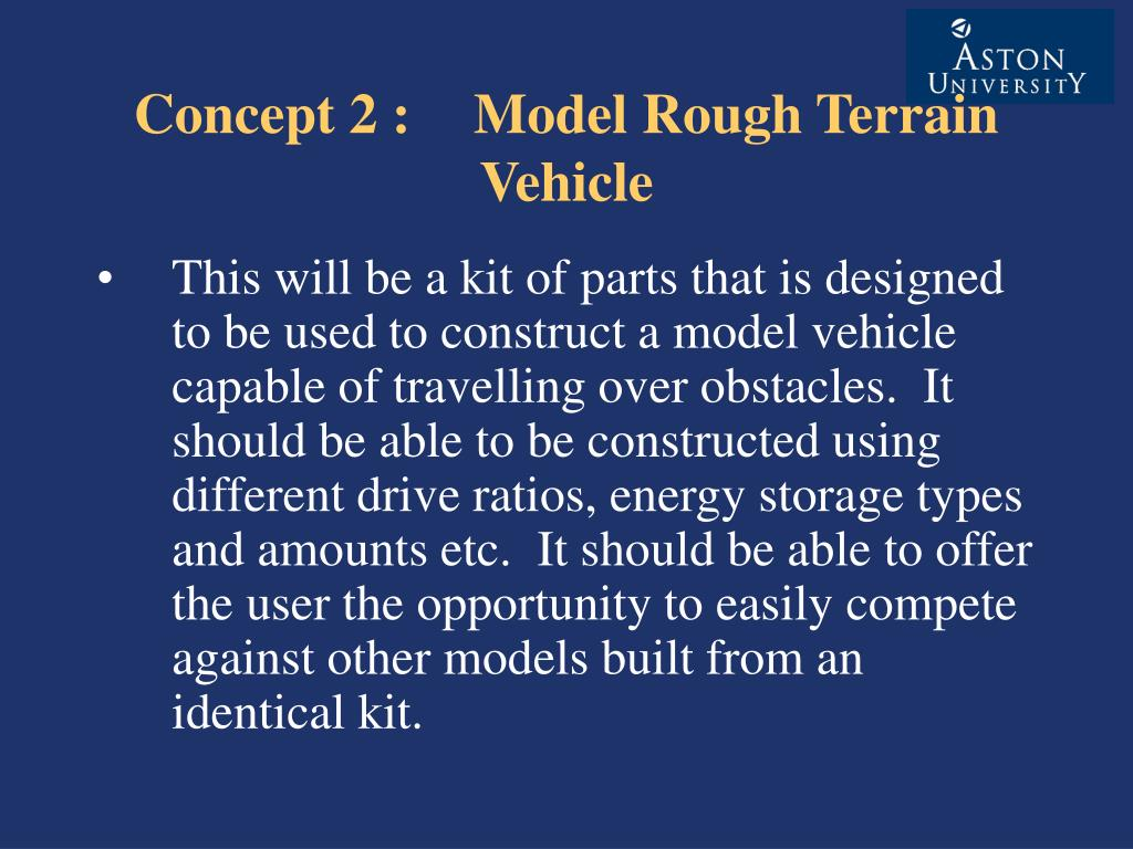 Concept 2 : Model Rough Terrain Vehicle