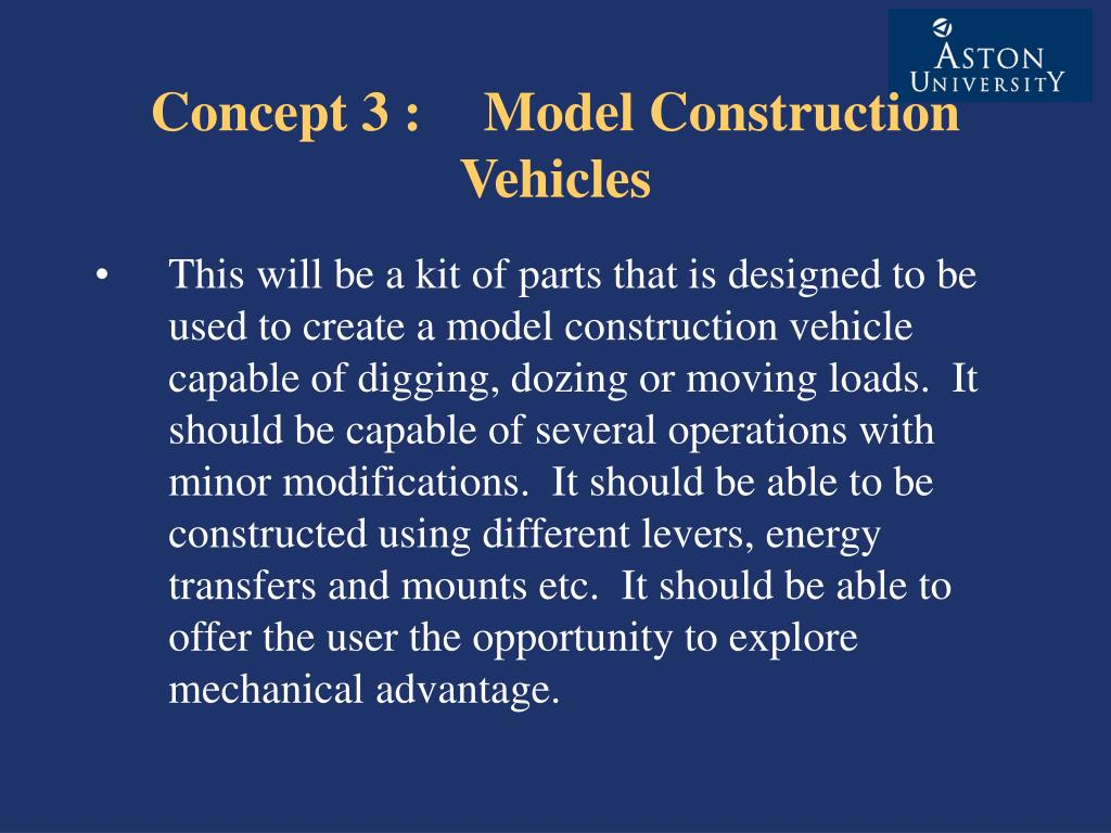 Concept 3 : Model Construction Vehicles