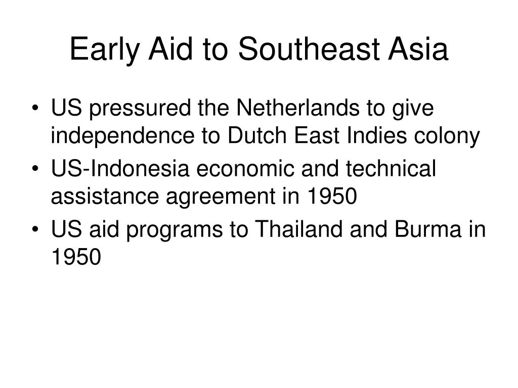 Early Aid to Southeast Asia