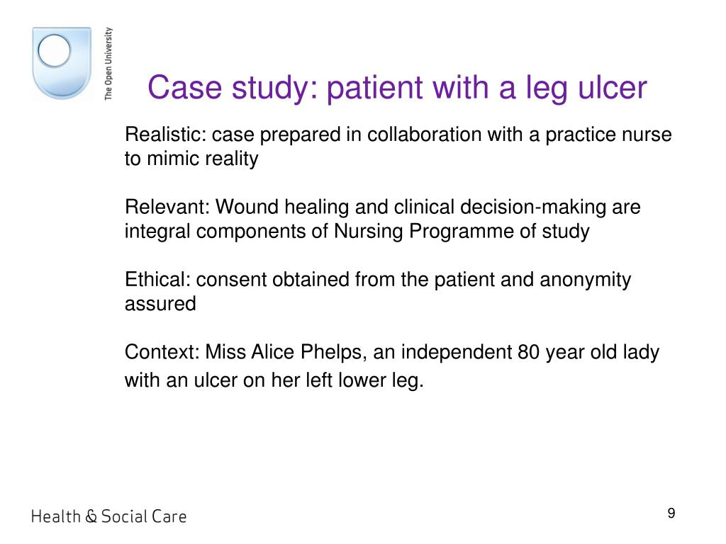 Case study: patient with a leg ulcer