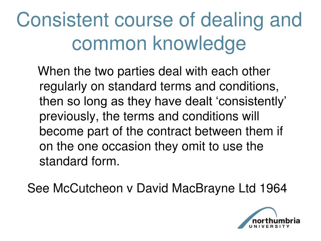 Consistent course of dealing and common knowledge