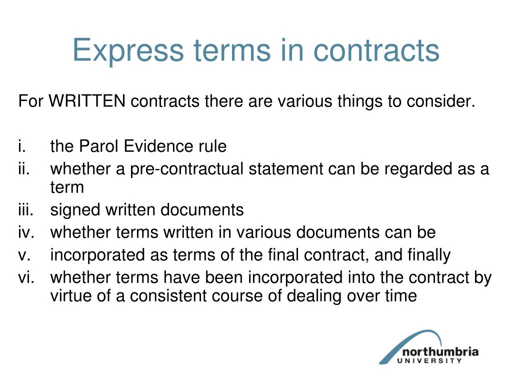 Express terms in contracts
